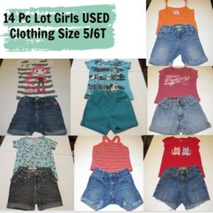 14 Pcs Girls Clothing - Shorts/Shirts -Size 5/6T